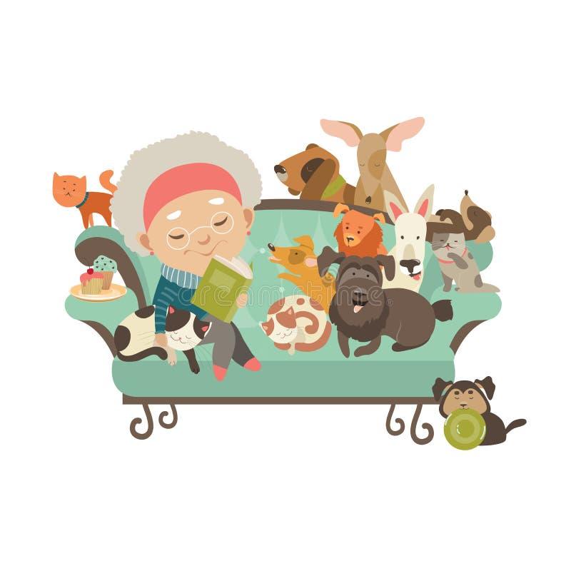 Старуха с ее котами и собаками бесплатная иллюстрация