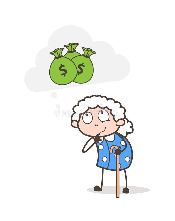 Старуха шаржа плохая думая о иллюстрации вектора денег иллюстрация вектора