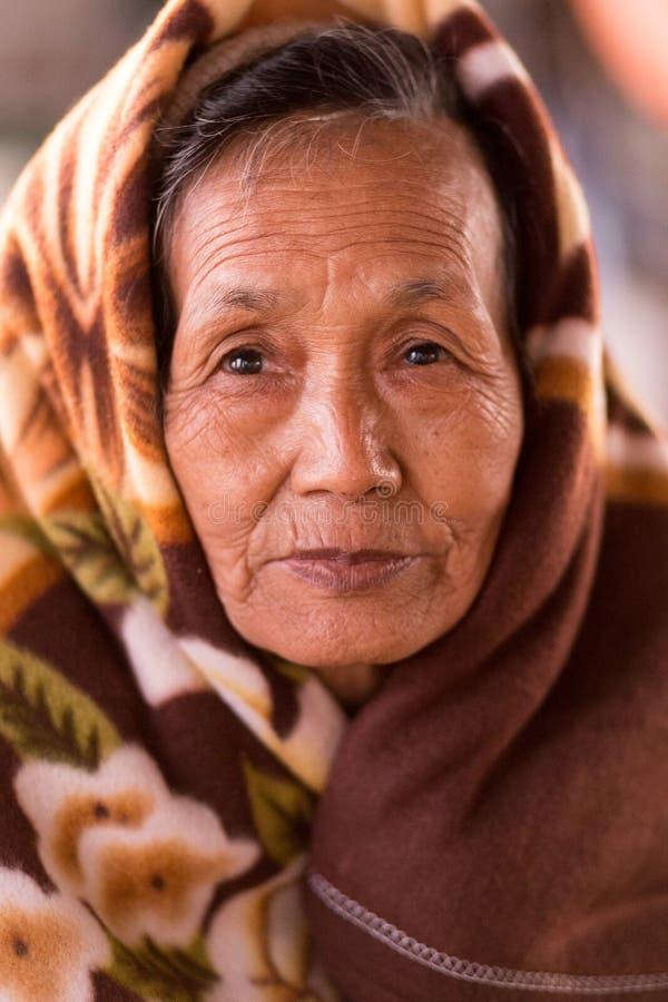 Старшая бирманская женщина стоковое фото rf