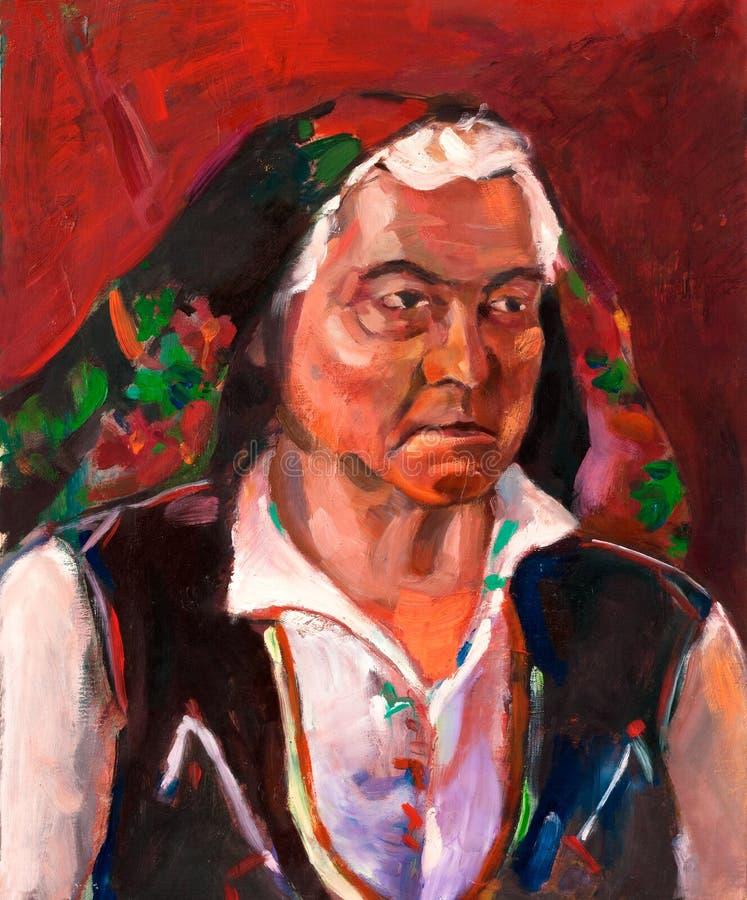 Старшая болгарская женщина иллюстрация штока
