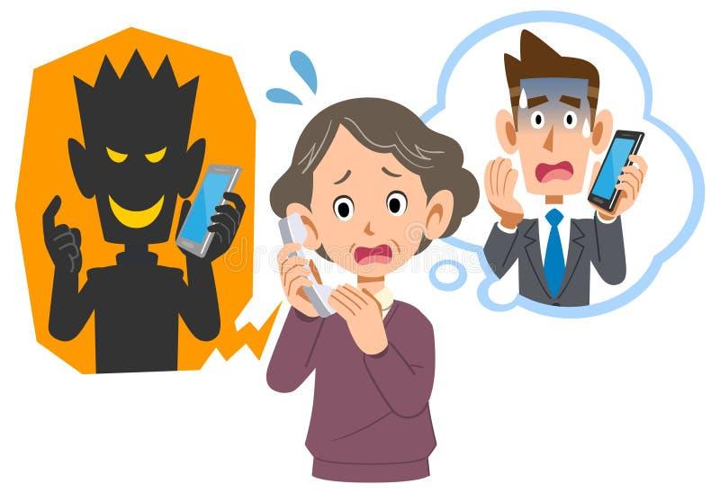 Старшая женщина быть scammed по телефону очковтирательством бесплатная иллюстрация