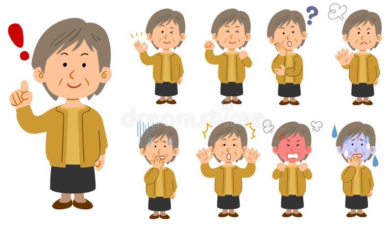 Старшая женщина в желтых кардиганах установила 9 представлений иллюстрация штока