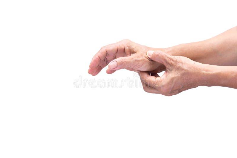 Старшая женщина имея плохую боль руки быть изолированным стоковое фото rf