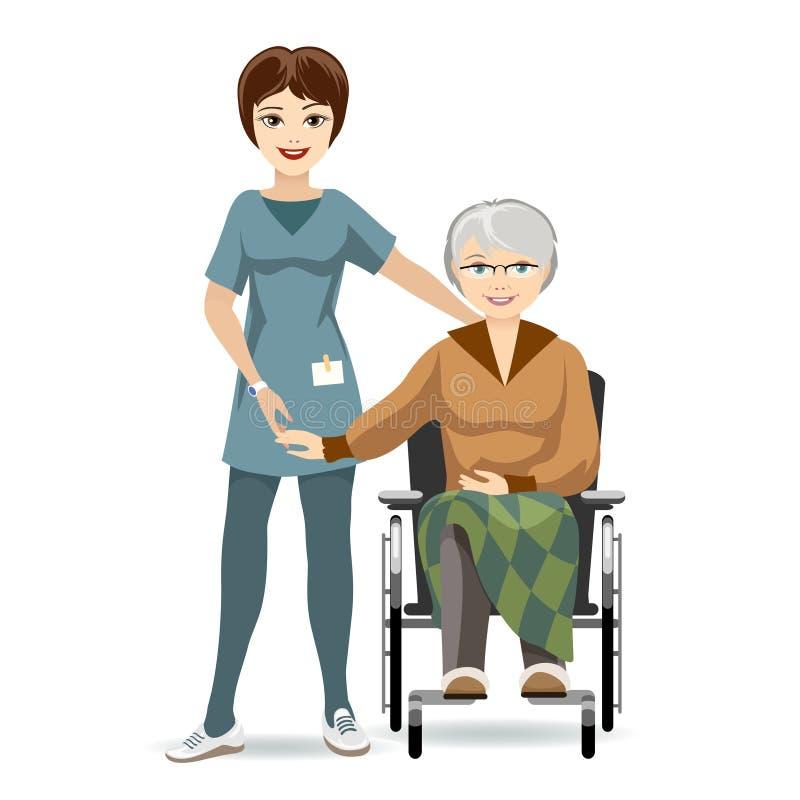 Старшая женщина на кресло-коляске и медсестре иллюстрация штока