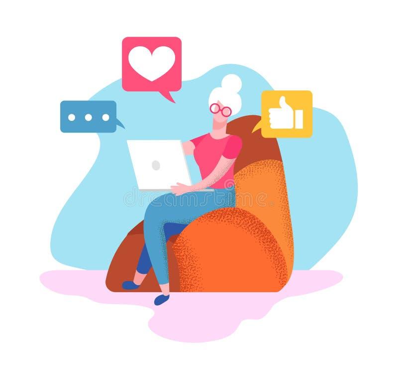 Старшая женщина сидит на кресле дома с ноутбуком бесплатная иллюстрация
