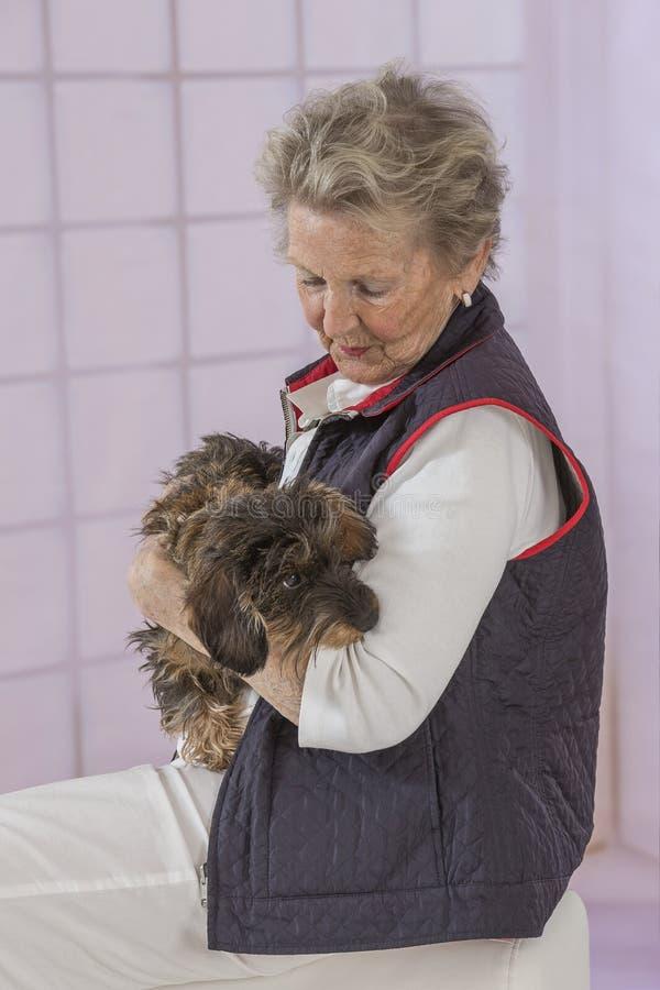 Старшая женщина с собакой внутрь ее дома стоковые изображения rf