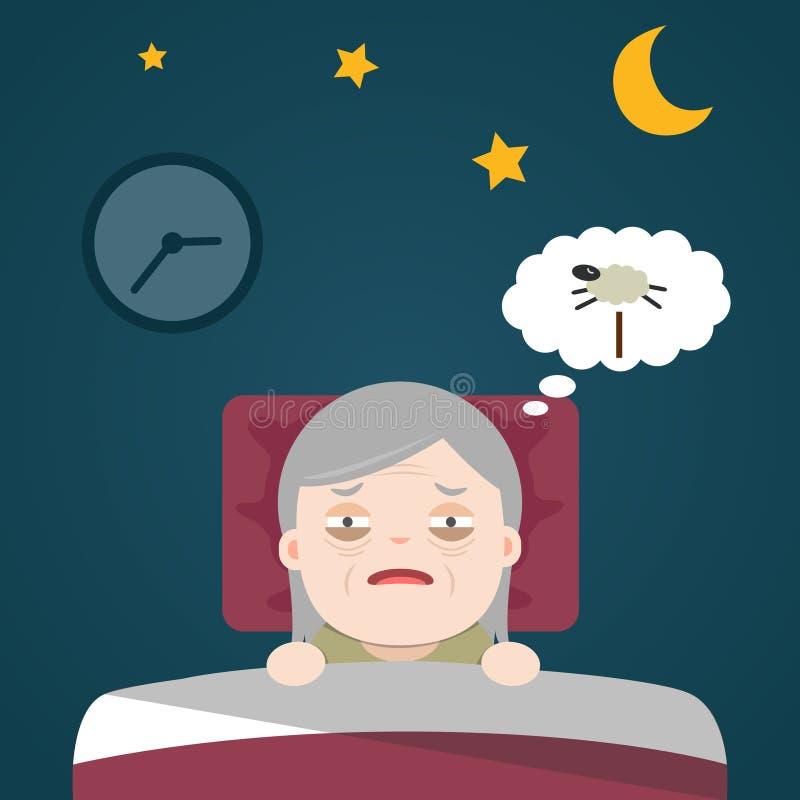 Старшая инсомния, sleeplessness иллюстрация штока