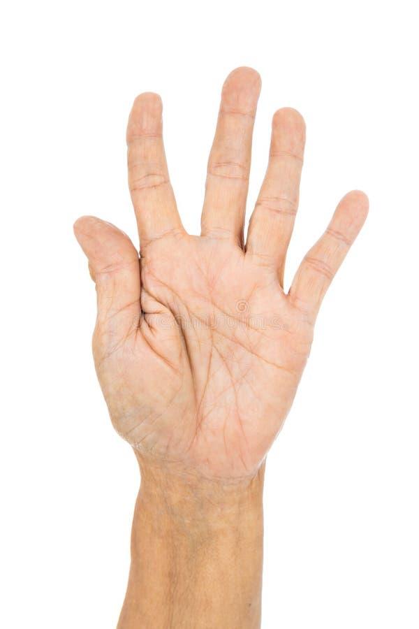 Старшая рука подсчитывая изолят 5 5 на белой предпосылке стоковое изображение rf