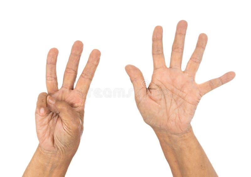 Старшая рука подсчитывая 8 8 стоковая фотография rf