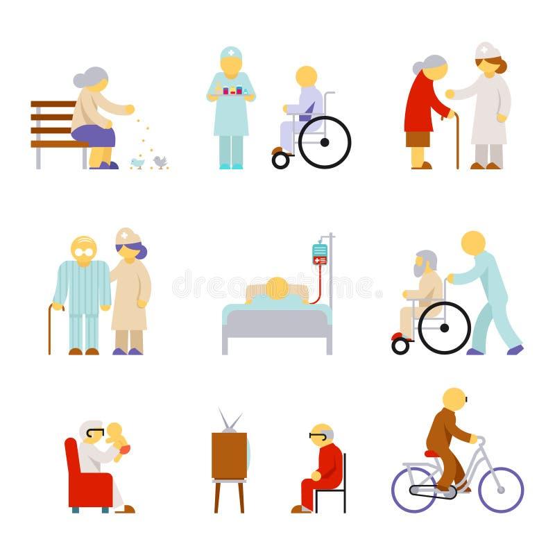 Старшие значки обслуживания здравоохранения иллюстрация вектора