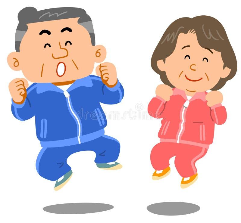 Старшие люди и женщины которые скачут иллюстрация вектора