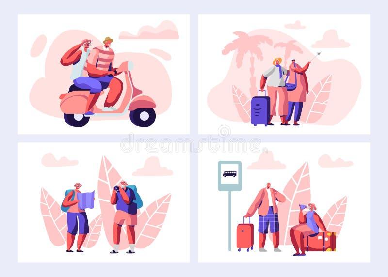 Старшие люди путешествуя набор Достигшие возраста Touristic путешественники ждать автобус на станции, велосипеде катания, наблюда иллюстрация вектора
