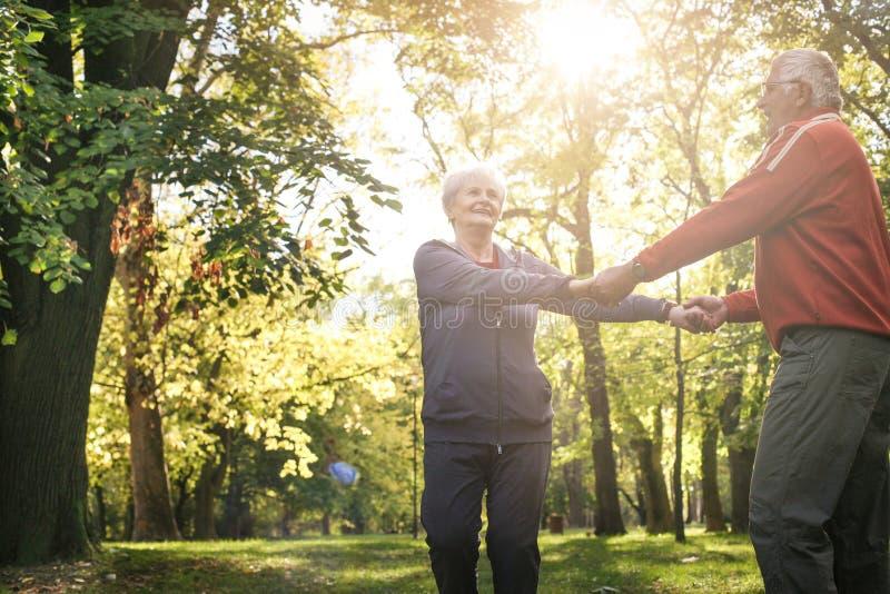 Старшие пары в лесе держа руки и вращают в circ стоковое изображение rf