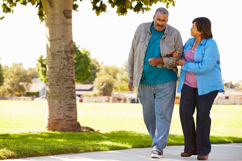 Старшие пары гуляя в парк совместно стоковая фотография
