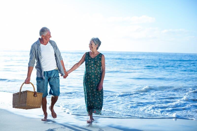 Старшие пары держа корзину пикника стоковые изображения rf