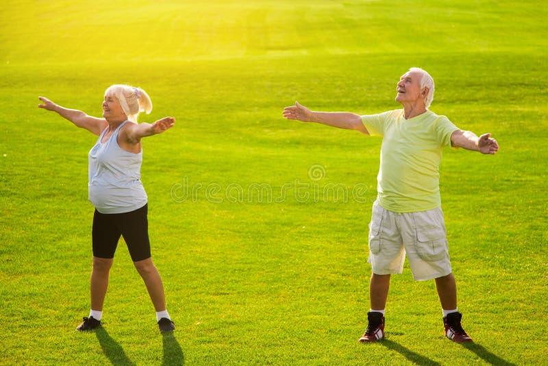 Старшие пары делая физические упражнения стоковые фотографии rf