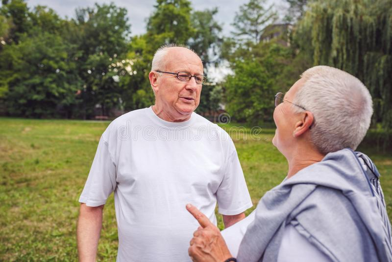 Старшие пары наслаждаясь моментом и говоря совместно стоковое фото