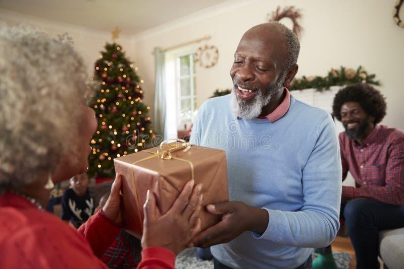 Старшие пары обменивая подарки по мере того как они празднуют рождество дома с семьей стоковые фото