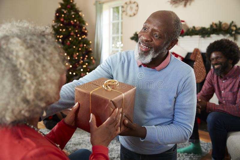 Старшие пары обменивая подарки по мере того как они празднуют рождество дома с семьей стоковое фото