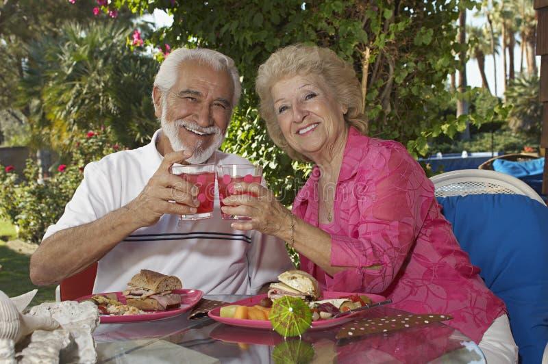 Старшие пары провозглашать стекла пить стоковая фотография