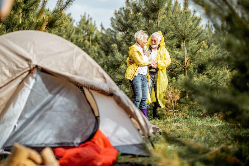 Старшие пары располагаясь лагерем в лесе стоковое изображение rf