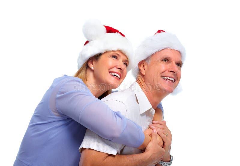 Старшие пары santa стоковое фото rf