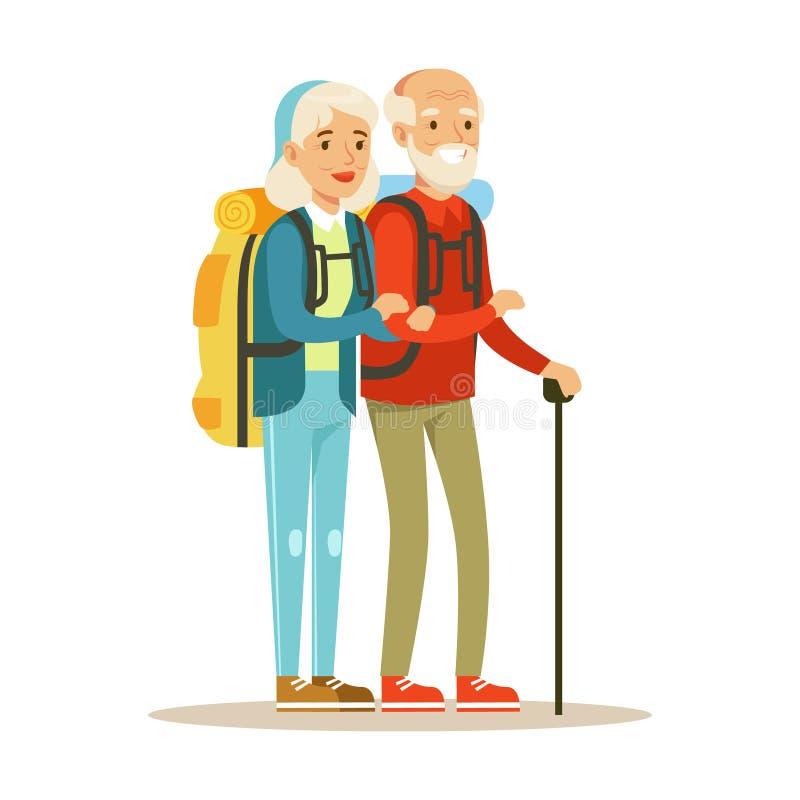 Старшие туристы пар путешествуя с рюкзаками Люди путешествуя красочная иллюстрация вектора персонажа из мультфильма иллюстрация штока