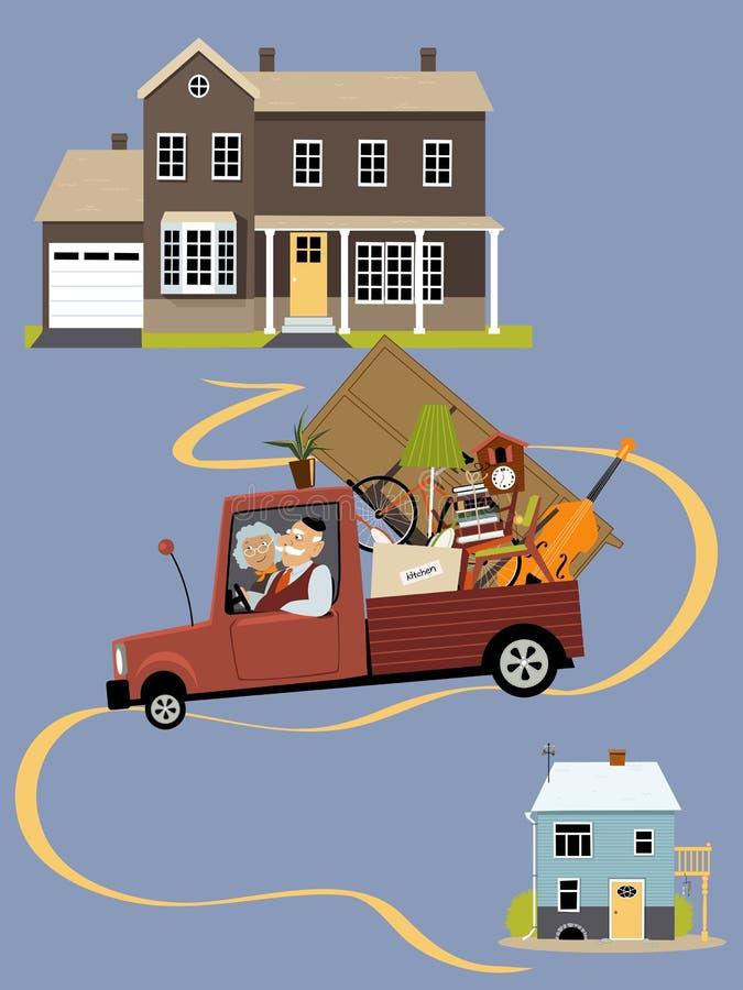 Старшии двигая к новому дому иллюстрация вектора
