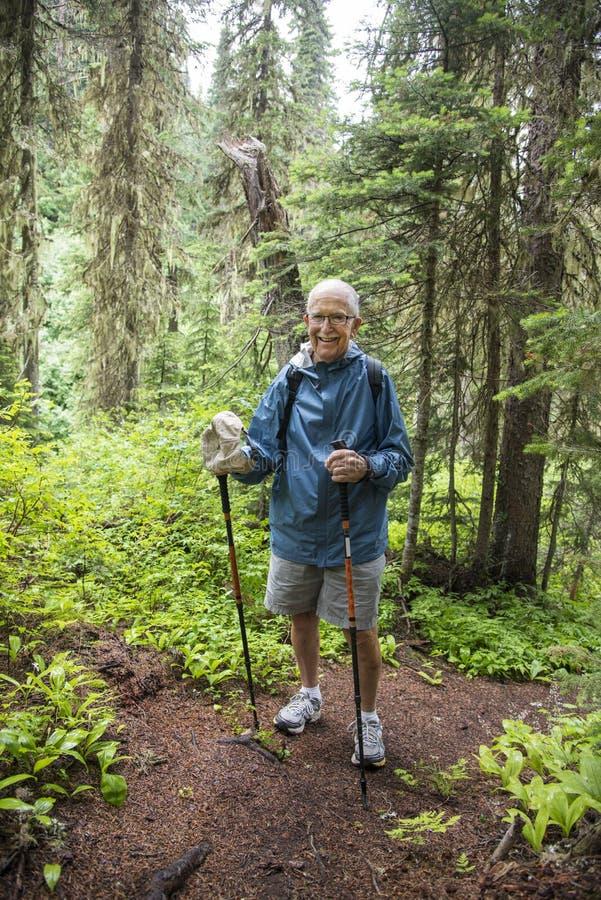 Старший активный hiking человека стоковые изображения