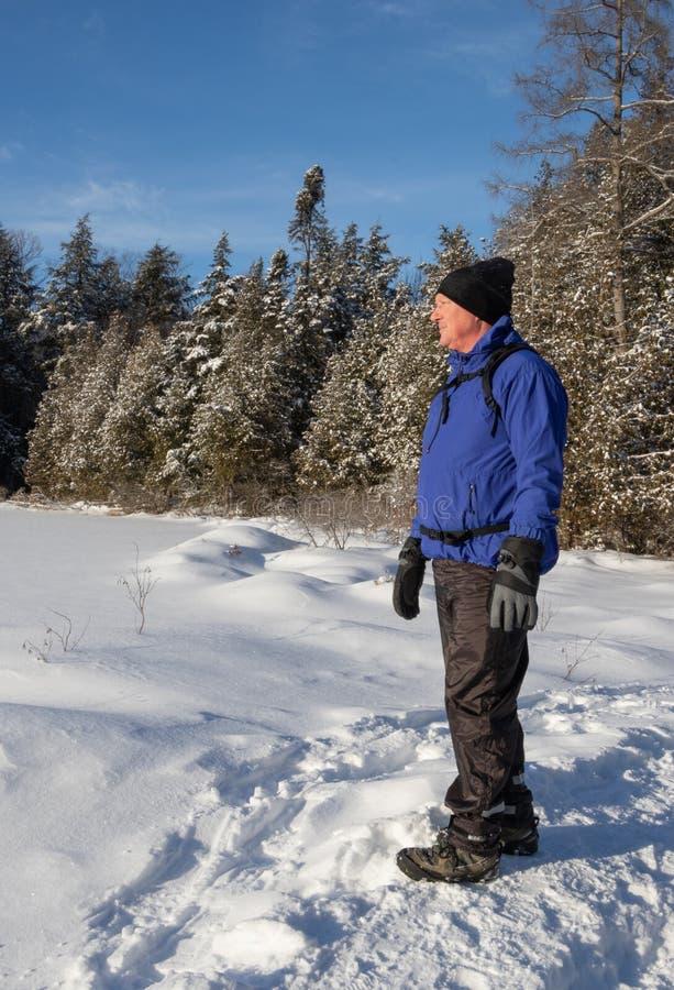Старший вне для похода зимы в красивом Muskoka стоковая фотография rf