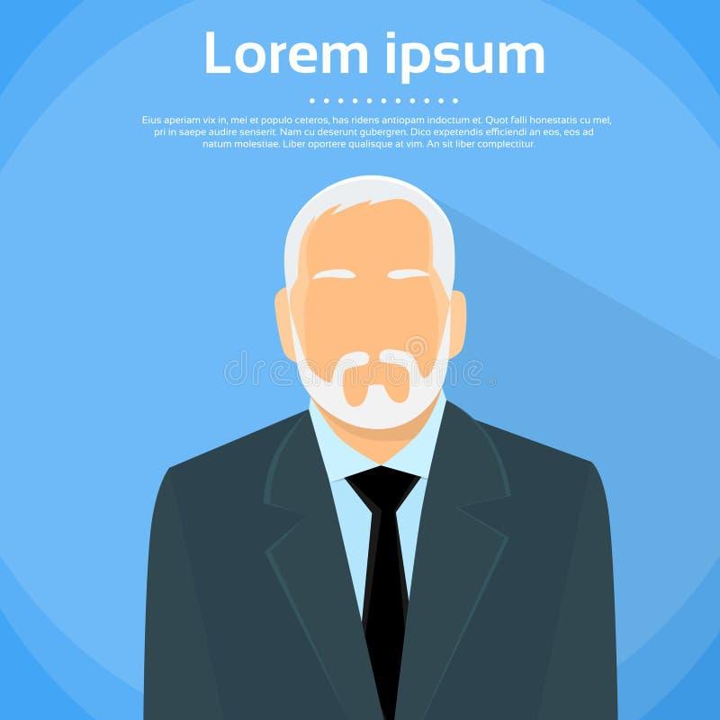 Старший владелец бизнеса босса бизнесмена плоский иллюстрация вектора