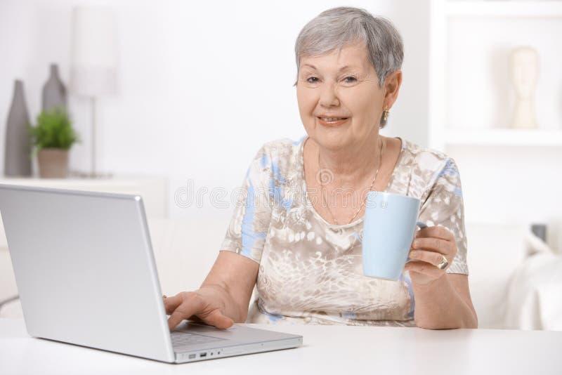 старший компьтер-книжки компьютера используя женщину стоковые изображения rf