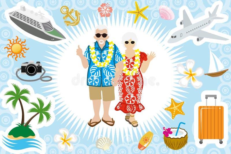 Старший комплект летних каникулов пар иллюстрация вектора