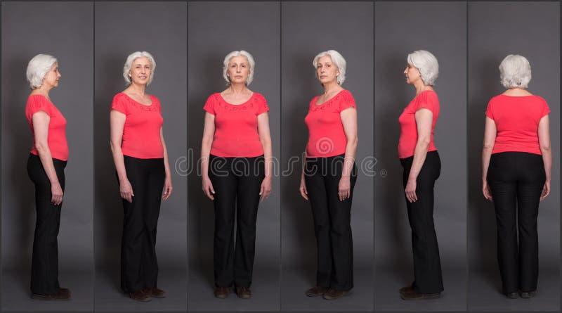 Старший коллаж женщины стоковое изображение rf