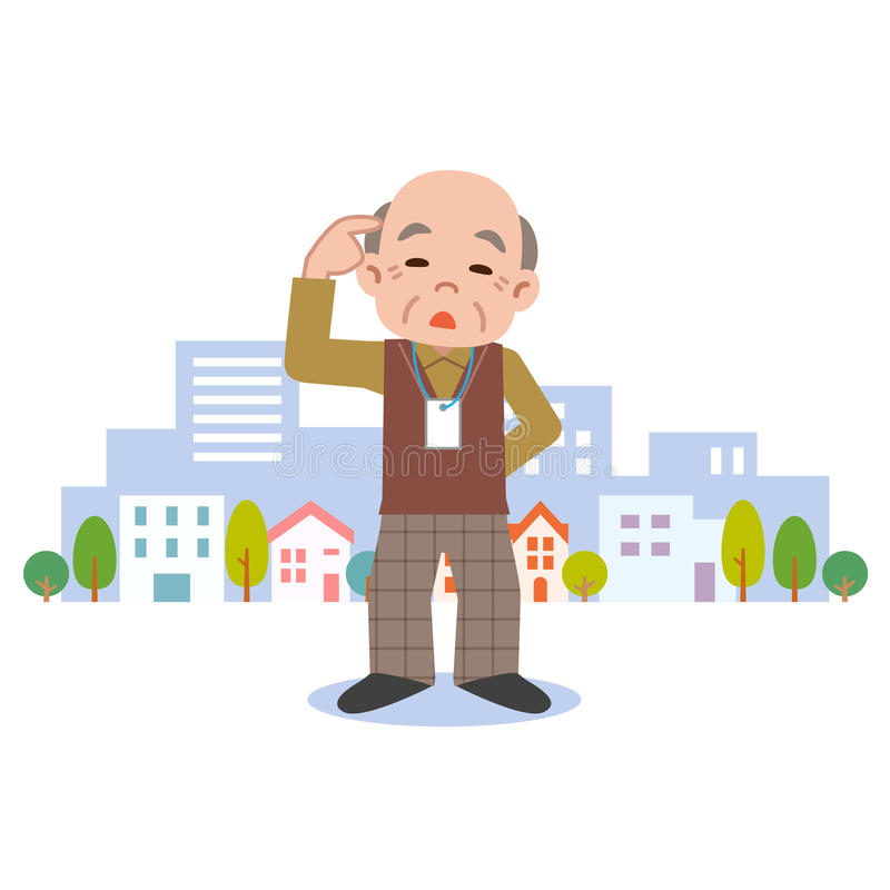 Старший мужчина слабоумия иллюстрация вектора