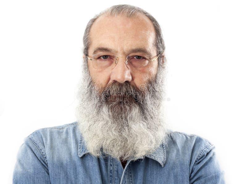 Старший с польностью белой бородой стоковое изображение