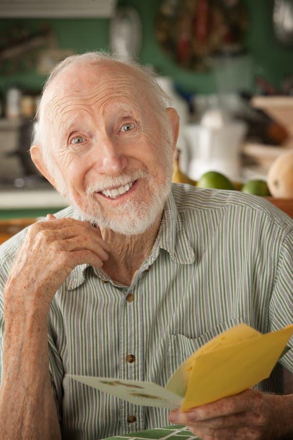старший человека приветствию карточки стоковые фотографии rf