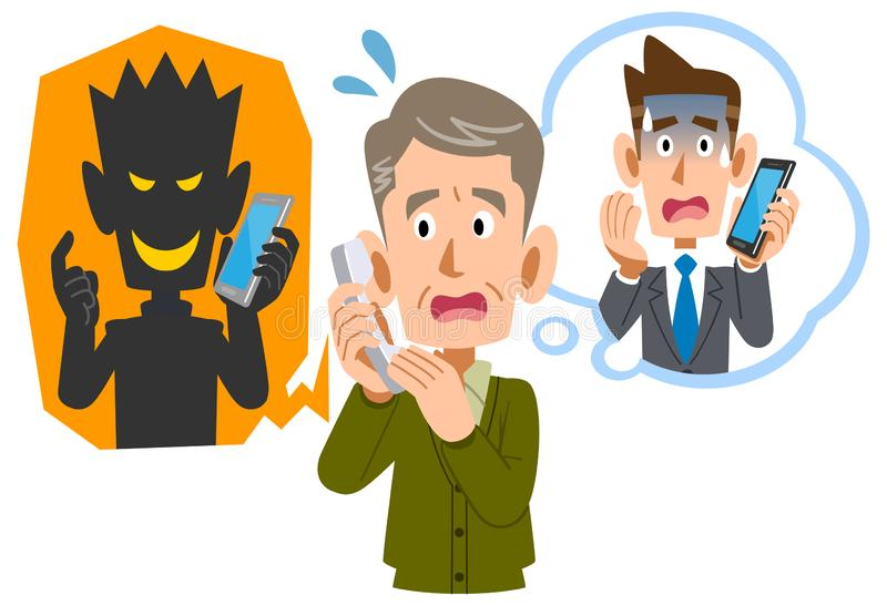 Старший человек быть scammed по телефону очковтирательством бесплатная иллюстрация