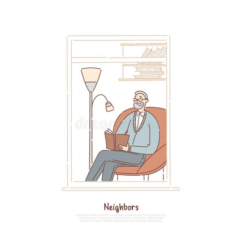 Старший человек в книге чтения окна, личном кабинете психиатра, соседе деда сидя в кресле, делая знамя примечаний иллюстрация штока