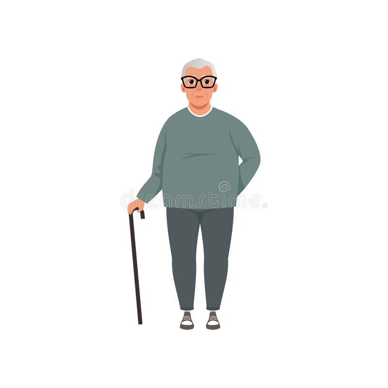Старший человек, дед, этап расти вверх иллюстрация вектора концепции на белой предпосылке бесплатная иллюстрация