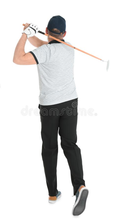 Старший человек играя гольф на белизне стоковое изображение rf