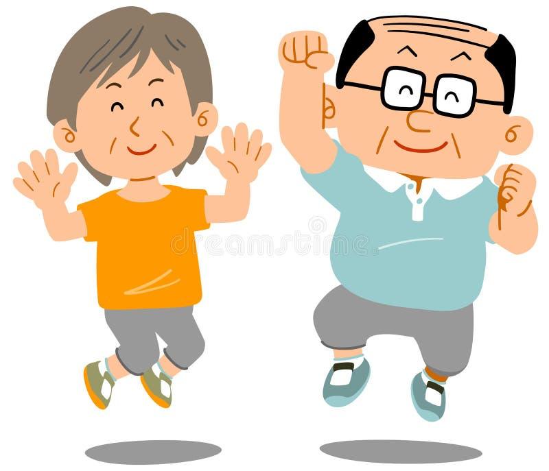 Старший человек и женщина который скачут иллюстрация вектора