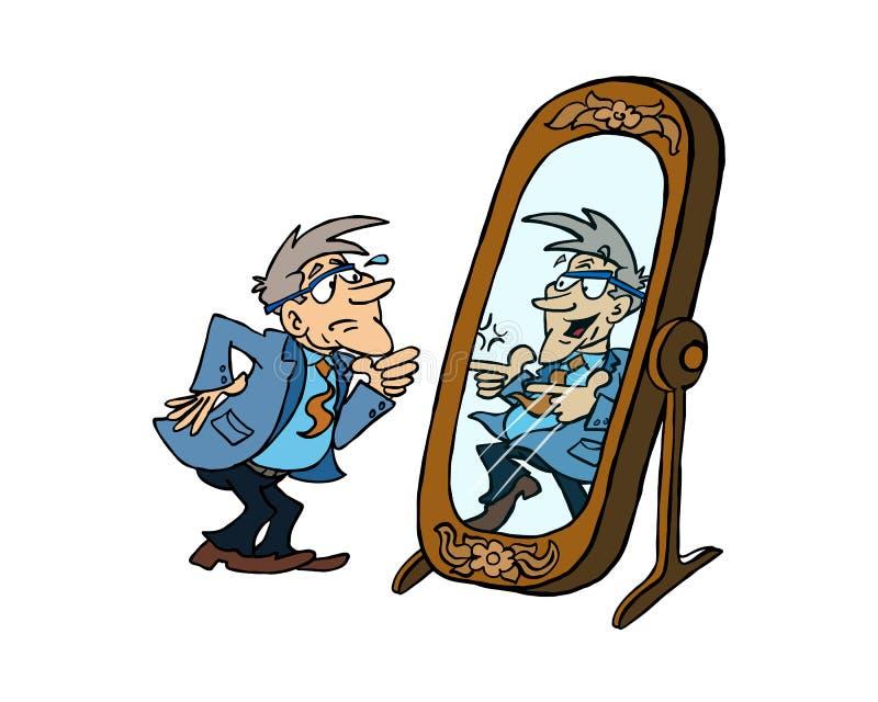 Старший человек смотря себя в зеркале иллюстрация вектора