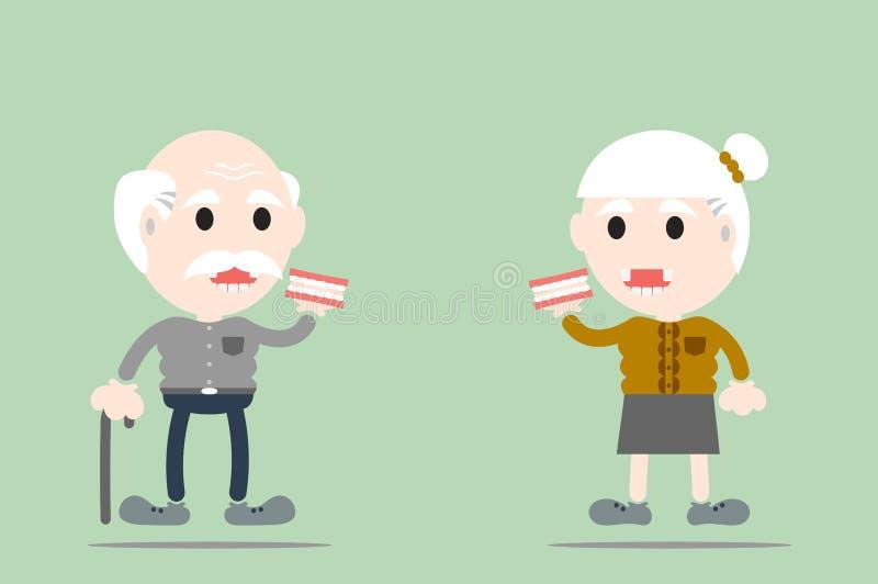 Старший человек и старшая женщина держат denture иллюстрация штока