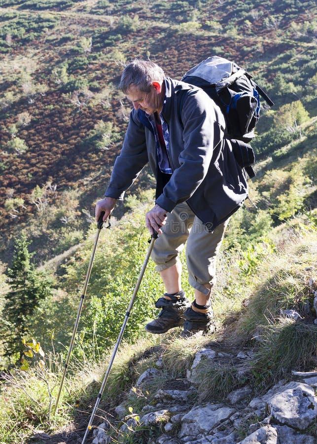 Старший человек идя в горы стоковые изображения