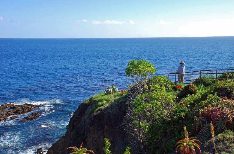 Старший человек наслаждаясь видом на океан в пляже Laguna, CA стоковые фотографии rf