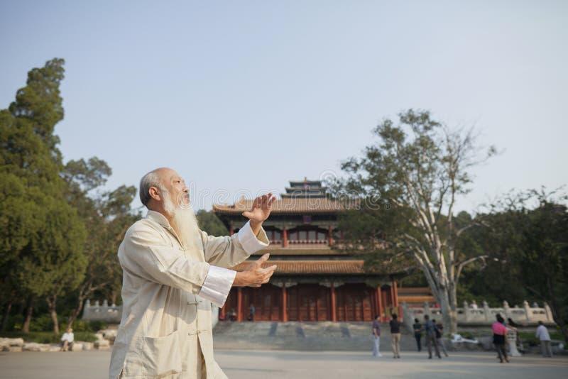 Старший человек практикуя Tai Ji перед зданием традиционного китайския стоковые изображения