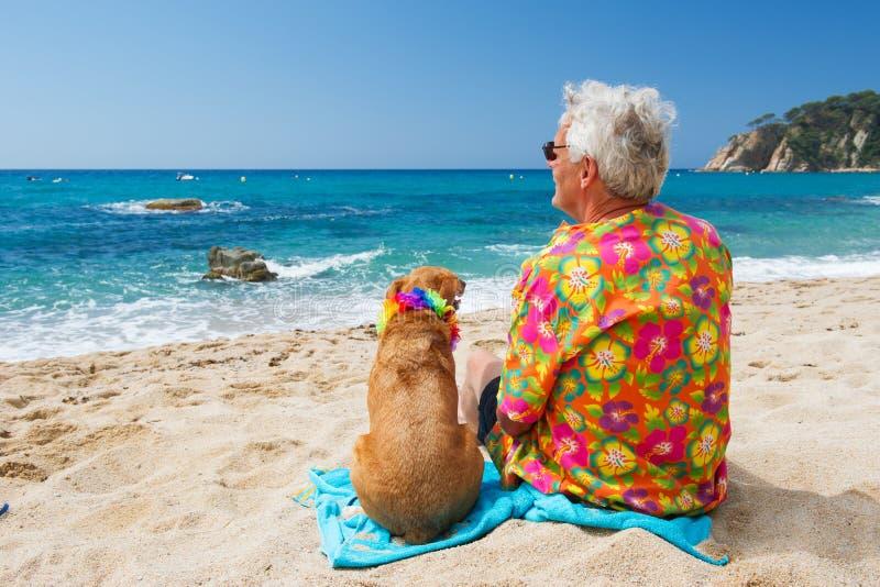 Старший человек с собакой на пляже стоковое фото