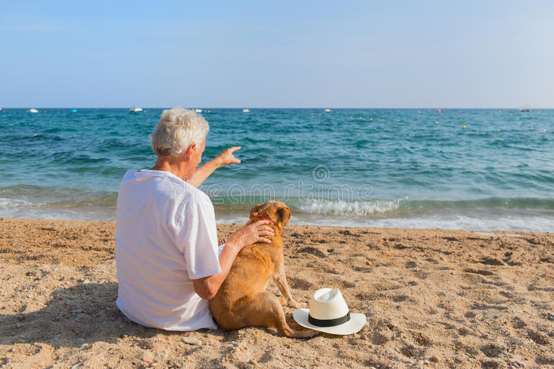 Старший человек с собакой на пляже стоковая фотография rf