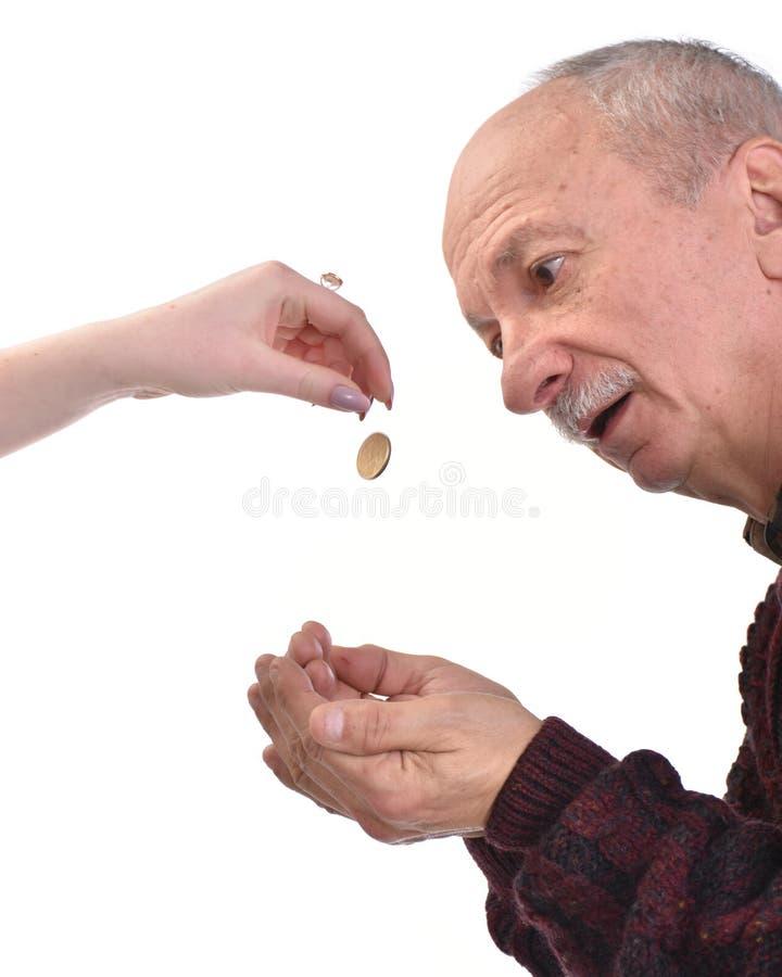 Старший человек умоляя для милостынь стоковое изображение